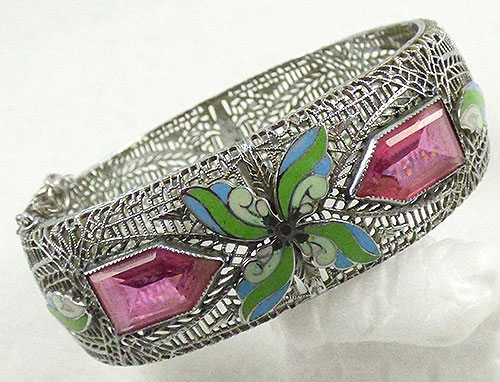 Bracelets - Art Deco Filigree Enamel and Pink Glass Bracelet
