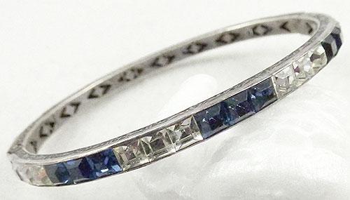 Bracelets - Art Deco Sterling Sapphire Paste Bangle Bracelet