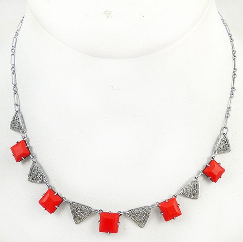 Necklaces - Art Deco Filigree Red Glass Necklace