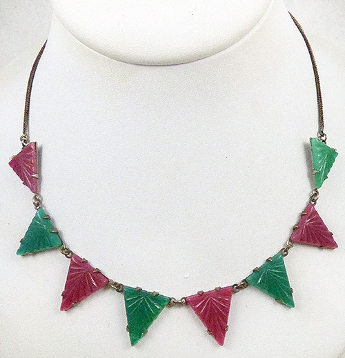 Newly Added Art Deco Glass Triangles Necklace