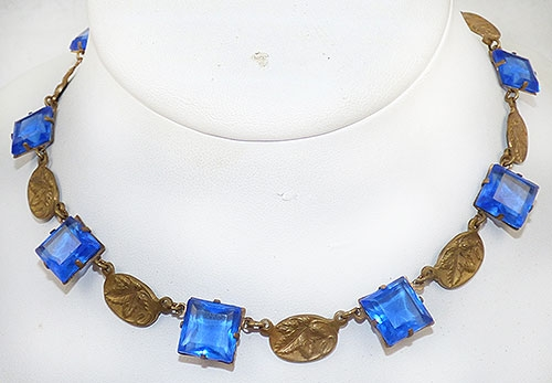 Necklaces - Art Deco Blue Chiclet and Brass Link Necklace