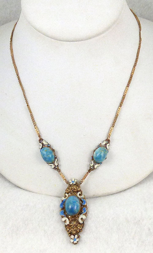 Necklaces - Czech Turquoise Art Glass Necklace