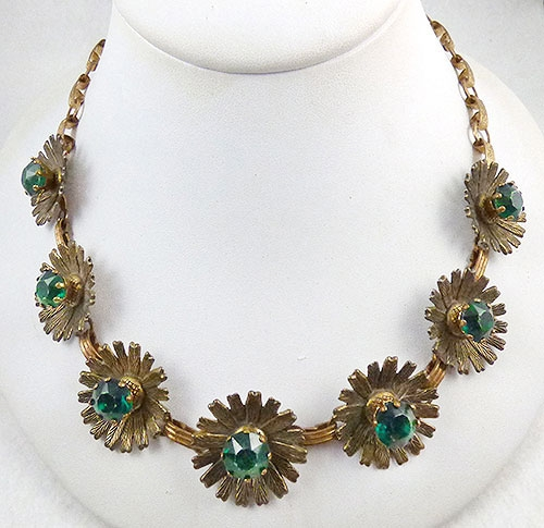 Florals - Brass Flowers Green Rhinestone Necklace