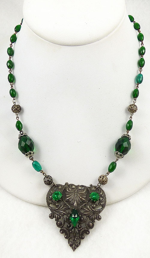 Necklaces - Brass Heart Green Czech Glass Bead Necklace
