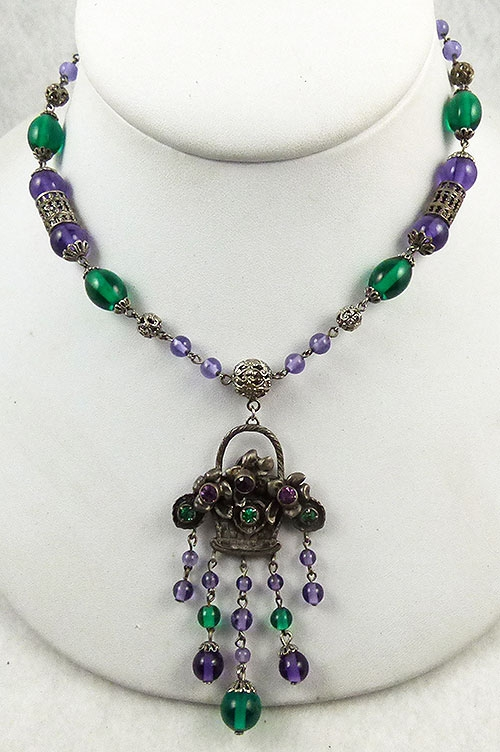 Necklaces - Czech Amethyst and Emerald Flower Basket Necklace