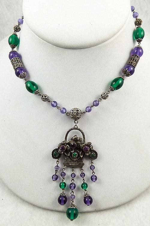 Czechoslovakia - Czech Amethyst and Emerald Flower Basket Necklace