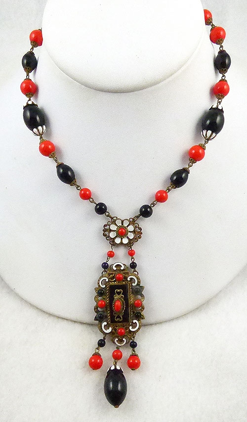 Newly Added Czech Red and Black Glass Necklace