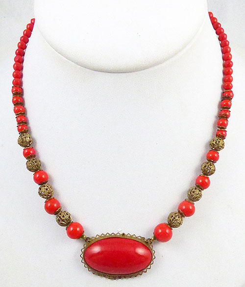 Newly Added Czech Red Glass Necklace