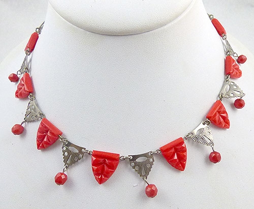 Germany - German Red Glass and Filigree Link Necklace