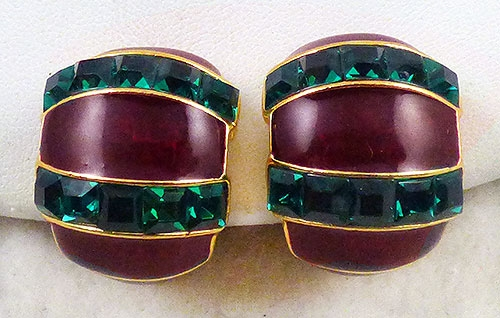 Lane, Kenneth J. - Kenneth Lane Red and Green Demi Hoop Earrings