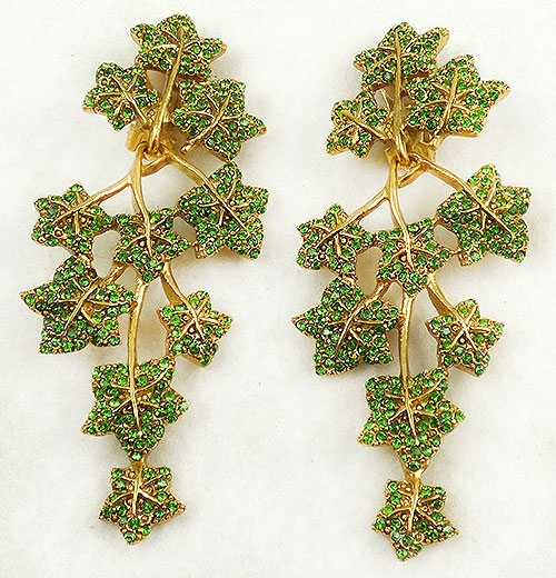 Lane, Kenneth J. - Kenneth Lane Green Crystal Ivy Earrings