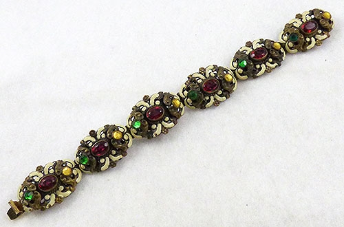 Garnet Jewelry - Czech Enameled Jeweled Bracelet