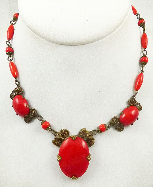 Newly Added Czech Red Glass Brass Flowers Necklace