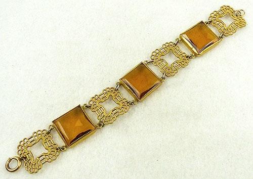 Bracelets - Czech Topaz Glass Bracelet