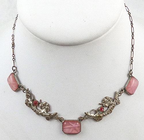 Necklaces - Art Deco Pink Star Sapphire Necklace