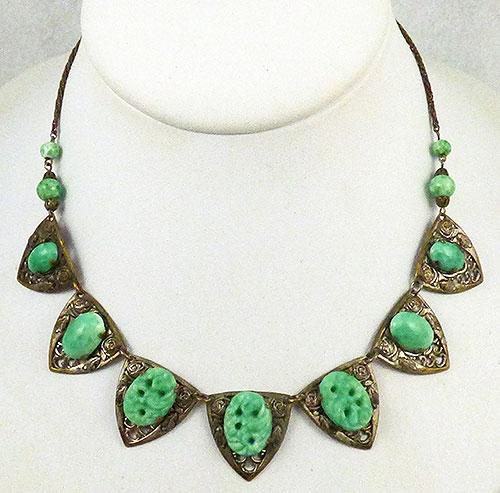 Art Deco - Czech Brass sand Green Glass Necklace