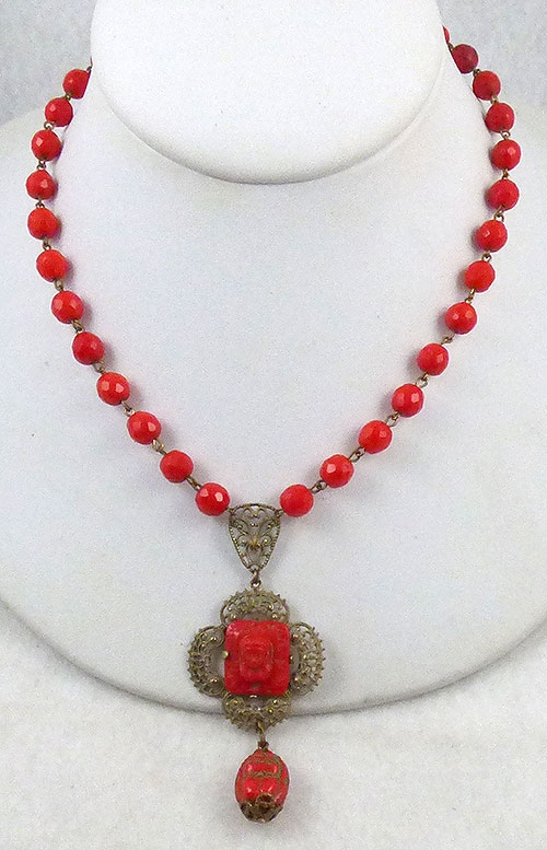 Necklaces - 1930's Filigree and Czech Glass Necklace
