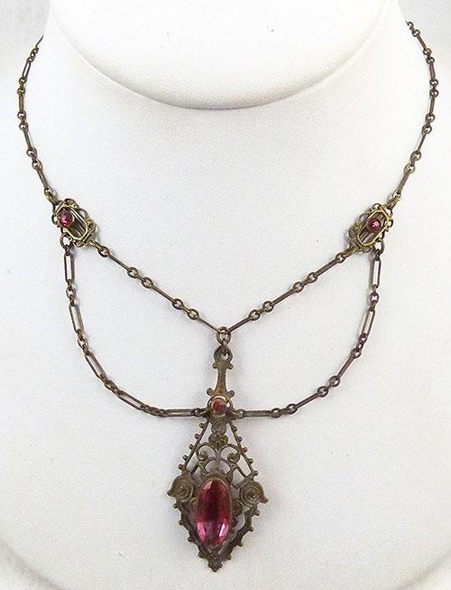 Art Deco - Art Deco Brass Filigree  Festoon Necklace