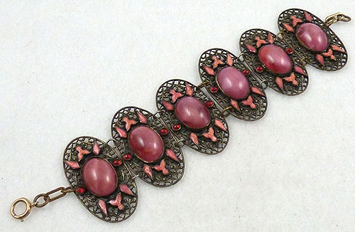 Newly Added Czech Pink Satin Glass Filigree Bracelet