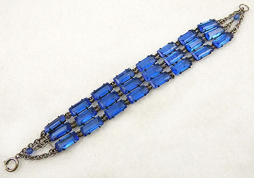 Newly Added Blue Glass Chiclet Bracelet