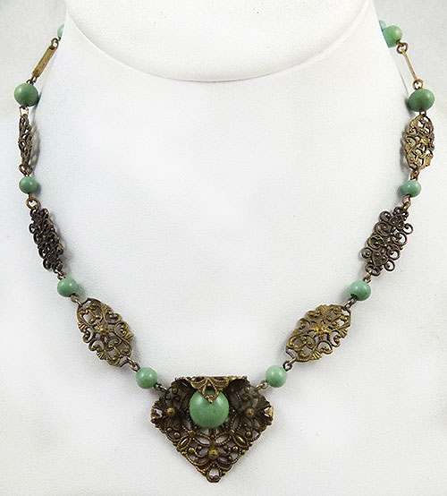 Newly Added Czech Brass Filigree Green Bead Necklace