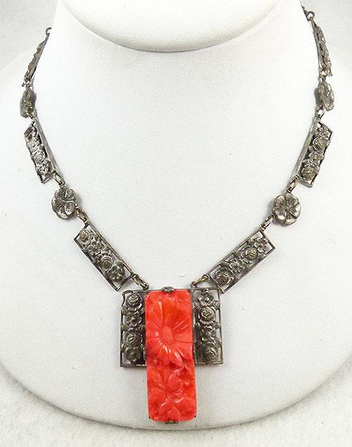 Necklaces - Art Deco Silver Flower Link Orange Glass Necklace