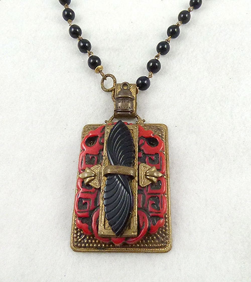 Newly Added Art Deco Cinnabar and Black Glass Necklace