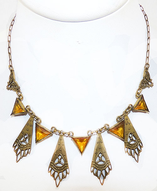 Newly Added Czech Brass Link Topaz Glass Triangles Necklace