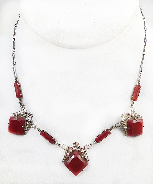 Newly Added Art Deco Carnelian Glass Necklace
