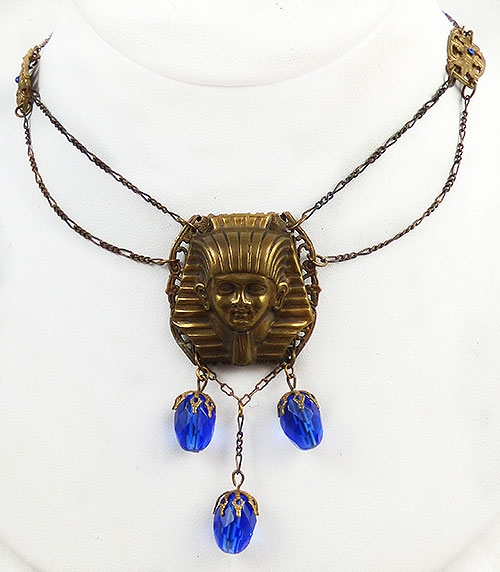 Figural Jewelry - People & Hands - Art Deco Egyptian Pharaoh Necklace