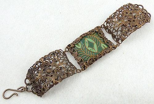 Art Deco - Brass Filigree Green Enamel Panel Bracelet