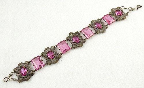 Newly Added Silver Filigree Pink Glass Bracelet