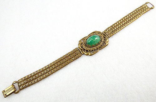 Newly Added Czech Peking Glass Brass Chains Bracelet