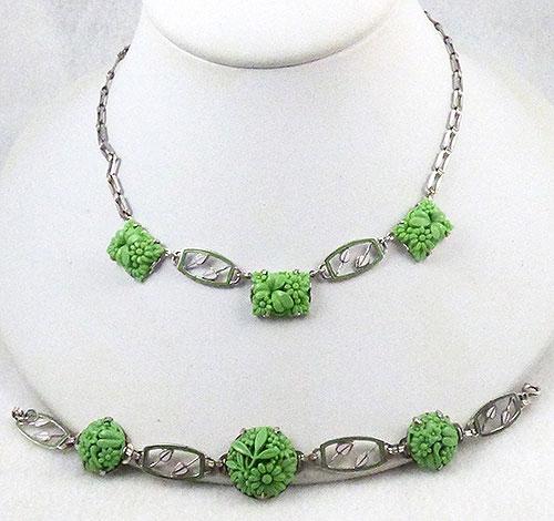 Art Deco - Art Deco Molded Glass Necklace Bracelet Demi-Parure