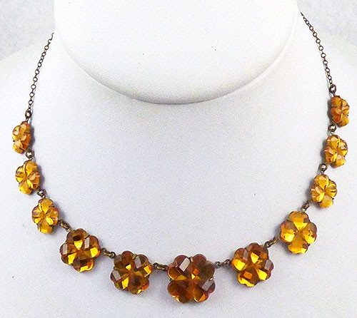 Necklaces - Czech Gold Vauxhall Glass Necklace