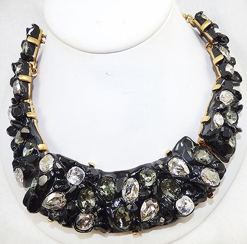 Newly Added Oscar de La Renta Black Resin Crystals Necklace