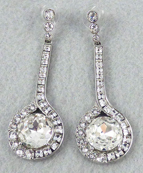 de La Renta, Oscar - Oscar de La Renta Rhinestone Drop Earrings