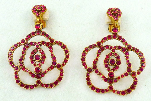 Florals - Oscar De La Renta Red Crystal Flower Earrings