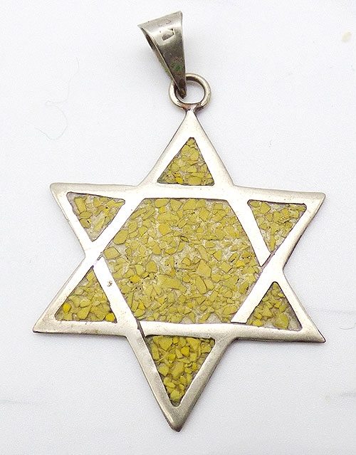 Semi-Precious Gems - Mexican Alpaca Star of David Pendant
