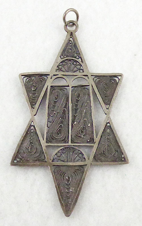 Jewish Jewelry - Silver Filigree Star of David Pendant