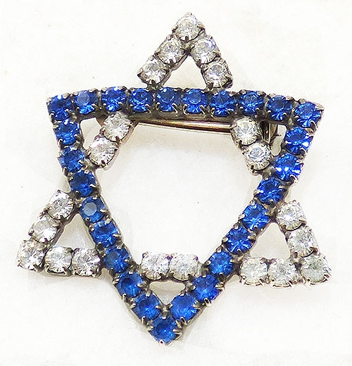 Brooches - Rhinestone Jewish Star of David Brooch