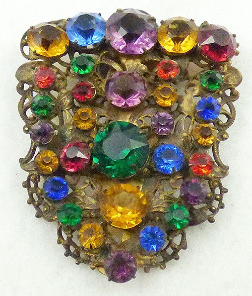 Newly Added Czech Multi-Color Rhinestone Dress Clip