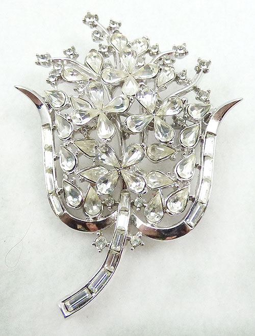 Newly Added Trifari Rhinestone Teardrop Flower Brooch
