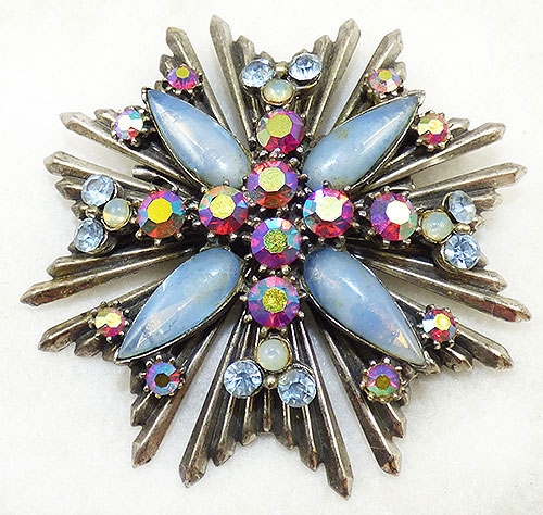 Newly Added Florenza Blue Moonstone Starburst Brooch Pendant
