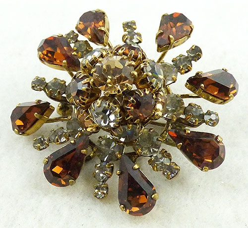 Austria - Austria Topaz and Black Diamond Brooch