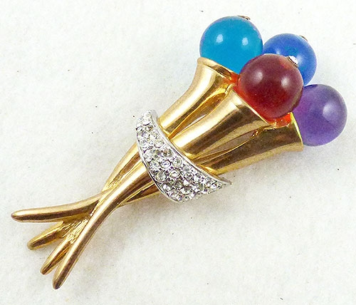 Brooches - Lucite Globe Golden Torches Brooch