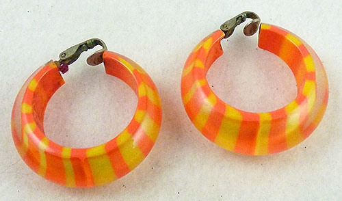 Summer Hot Colors Jewelry - Orange and Yellow Striped Lucite Hoop Earrings