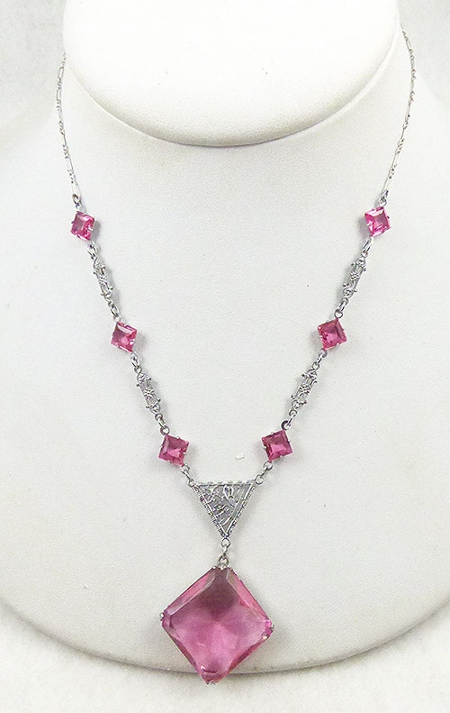 Newly Added Art Deco Rhodium Filigree Pink Glass Necklace