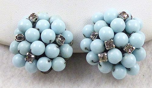 Earrings - Powder Blue Glass Bead Earrings