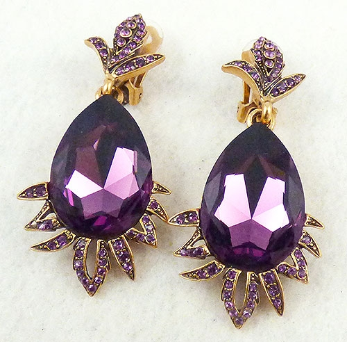 Newly Added Oscar de La Renta Amethyst Drop Earrings